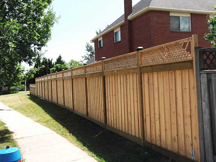 4X4 Cedar-Fencing-with-Latice-installation by Wholesalefence.ca in-Vaughan-Ontario---Street-View