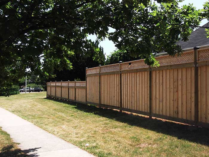 4X4 Cedar-Fencing-with-Latice-installation by Wholesalefence.ca in-Vaughan---Street-View