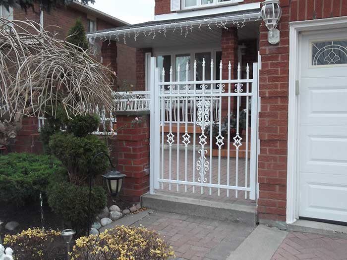 Aluminum-Fencing-Gate-Installation-around-the-Porch-in-Woodbridge-Ontario by wholesalefence.ca