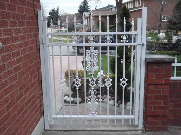 Aluminum-Fencing-Gate-Installation-around-the-Porch-in-Woodbridge by wholesalefence.ca