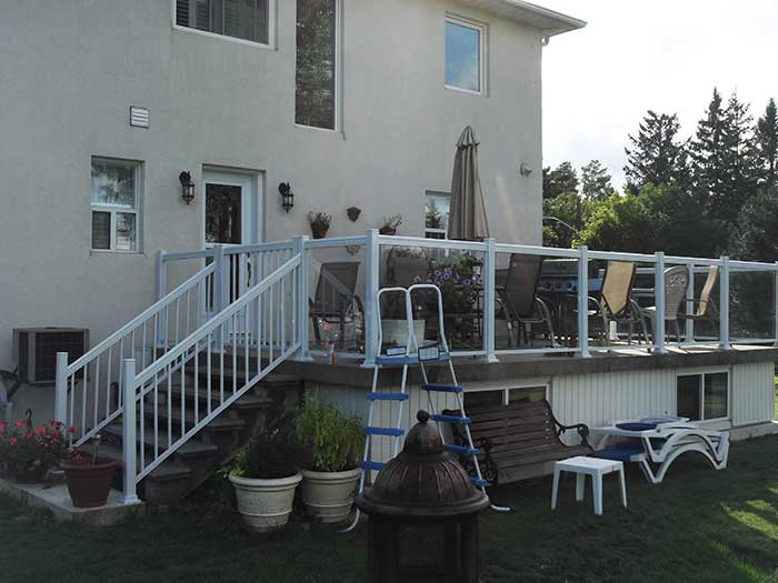 Aluminum-Glass-Railing-Installation-for-Backyard-Deck-in-Markham-Ontario by wholesalefence.ca