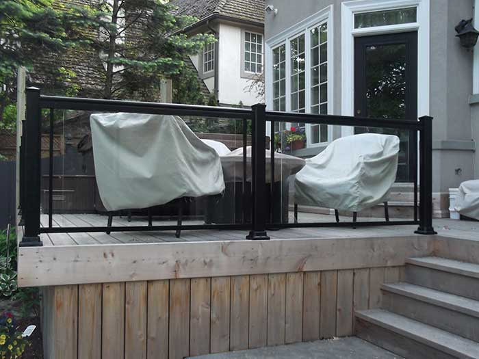 Aluminum-&-Glass-Railing--Installation-in-Custom-Build-Home-in-Richmond-Hill by Fence Direct