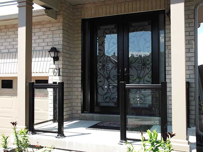 Aluminum-Railing-with-Glass-&-Milan-Design-Doyble-Fiberglass-Doors-with-multi-Point-Locks-and-2-Slim-Side-Lights by wholesalefence.ca