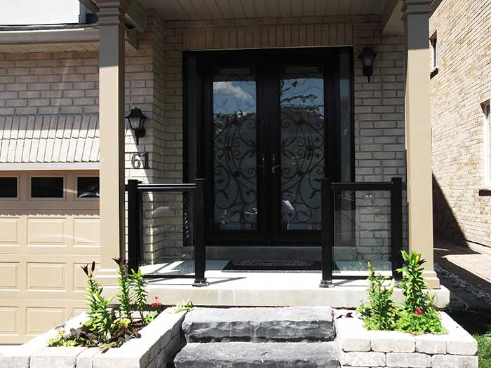 Aluminum-Railing-with-Glass-&-Milan-Design-Doyble-Fiberglass-Doors-with-multi-Point-Locks-and-2-Slim-Side-Lights-installed-in-Richmondhill-Ontario by wholesalefence.ca
