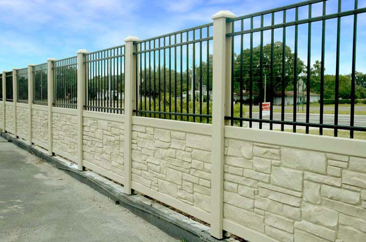 Commercial Simulated Stone Vinyl Fencing and Aluminum Fencing By wholesalefence.ca