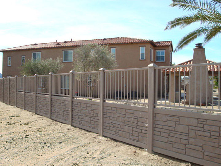 Commercial Simulated Stone Vinyl Fencing and Aluminum Fencing Installation By wholesalefence.ca