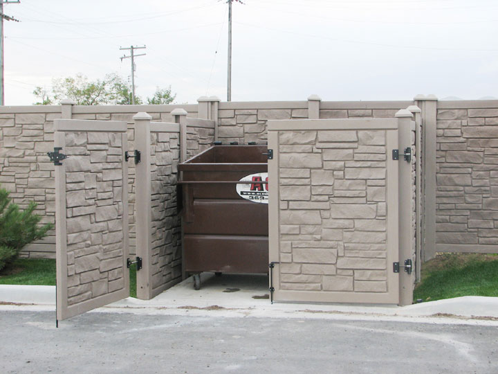 Commercial Simulated Stone Vinyl Fencing installation, By wholesalefence.ca