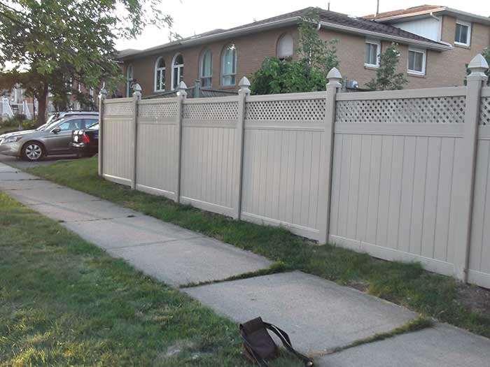 Full-Privacy-Vinyl-Fencing-Installation with Laticein-New-Market---Street-View by wholesalefence.ca