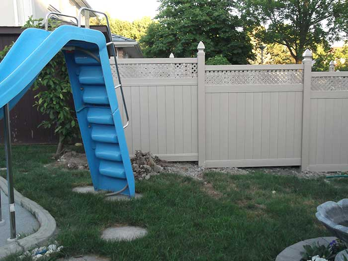 Full-Privacy-Vinyl-Fencing-with-Latice-Installation-in-Richmond-Hill by wholesalefence.ca