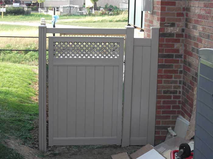 Full-Privacy-Vinyl-Fencing-with-Latice-on-Gate-Installation-in-Markhmam-Ontario by wholesalefence.ca