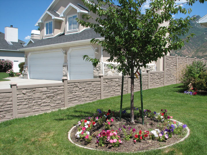 Privacy Simulated Stone Vinyl Fencing installation By wholesalefence.ca