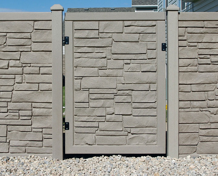 Simulated Stone Residential Vinyl Fencing Gate Installation By wholesalefence.ca