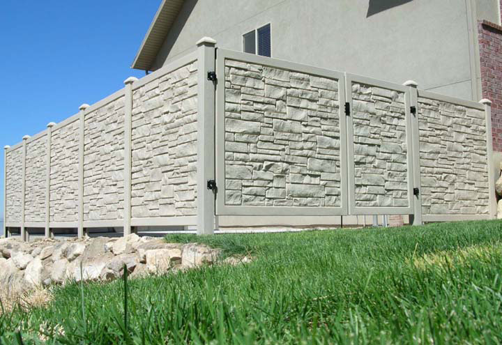 Simulated Stone Residential Vinyl Fencing Gates Installation By wholesalefence.ca