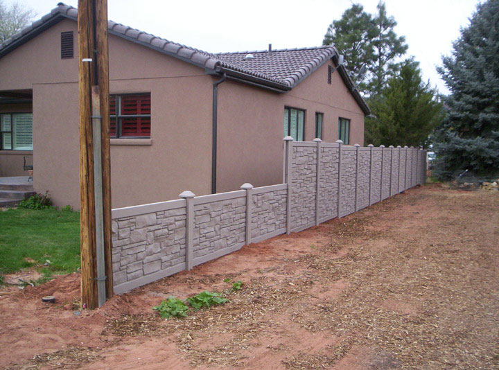 Simulated Stone Vinyl Fencing installation By wholesalefence.ca