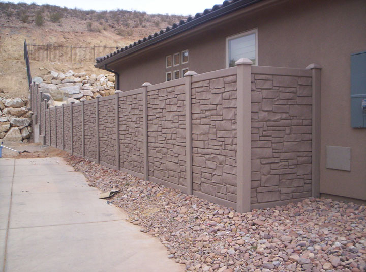 Simulated Stone- Vinyl Fencing installation By wholesalefence.ca