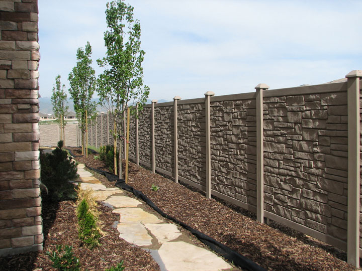 Simulated Stone Vinyl Fencing installed By wholesalefence.ca