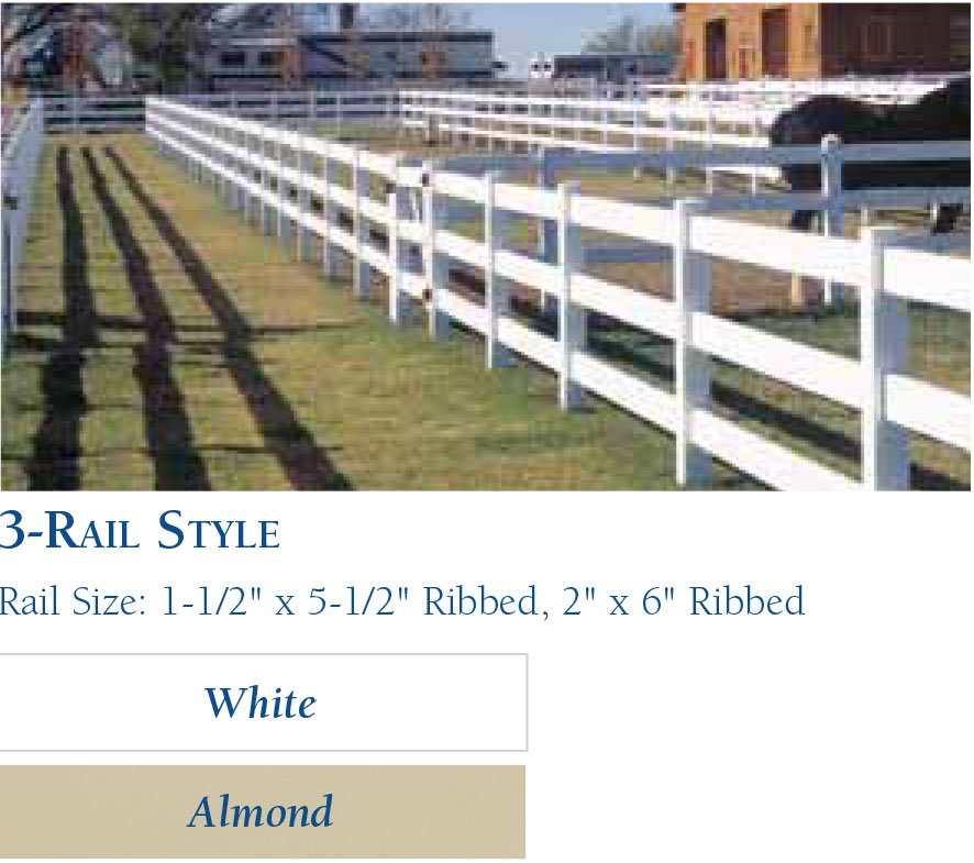 Vinyl Horse Fencing-Rail Style3 by wholesalefence.ca